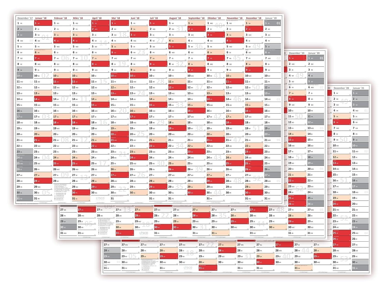 XXL Wandkalender DIN A0 2020 2022 rot2 Wandplaner große Tageskästchen 2021
