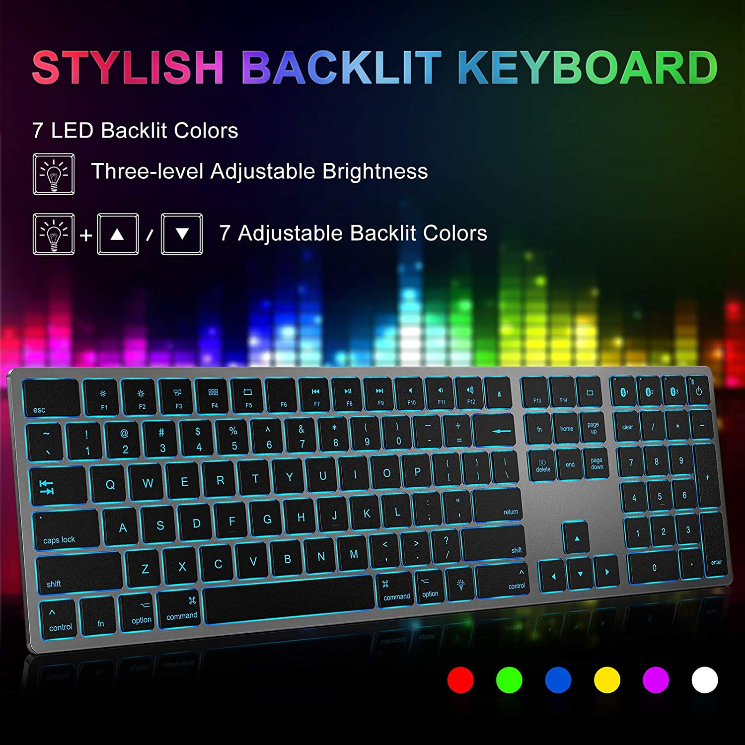 Easy Switch to 3 Devices iPad MagoFeliz Ultra Slim Rechargeable Wireless Keyboard 7 Colors Backlit Compatible with Mac MacBook Pro//Air iPhone Multi-Device Backlit Bluetooth Keyboard for Mac