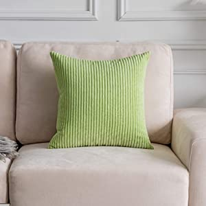 Home Brilliant Decorative Throw Pillows for Bed Striped Velvet Cushion Cover for Sofa Couch Decorative Pillowcase Sage, Apple Green, 26x26 inches (66cm)