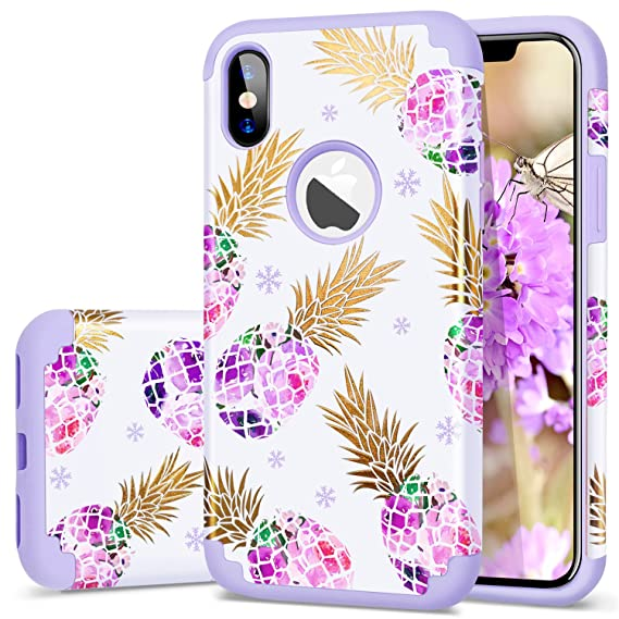 promo code 72705 3eec0 Fingic iPhone X Case for Girls,iPhone Xs (2018) Case for Women,Slim  Pineapple Case Soft Purple Rubber&Back Cover with Floral Pineapple Pattern  for ...