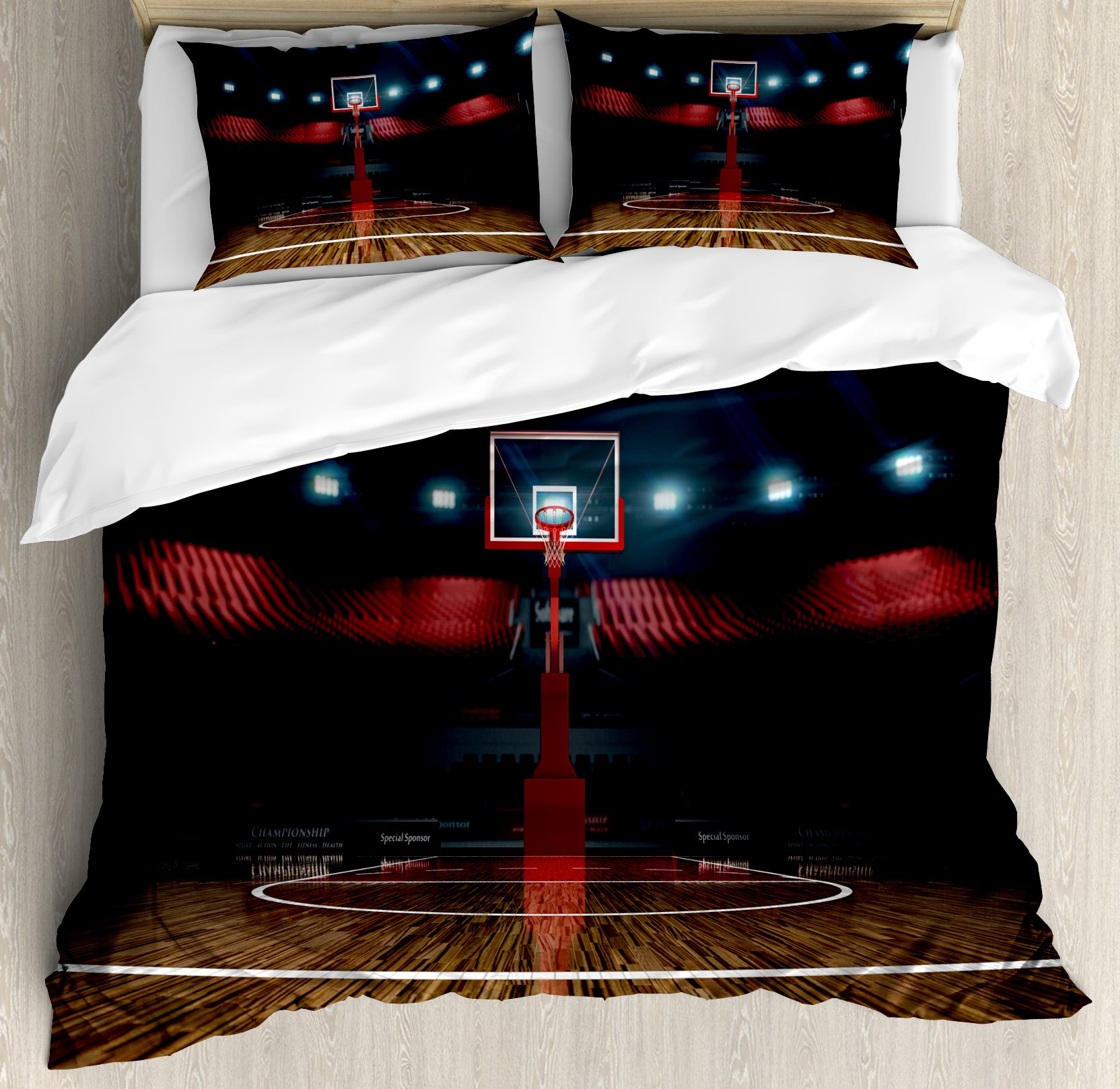 Teen Room Decor Duvet Cover Set King Size by Ambesonne, Professional Basketball Arena Stadium before Game Championship Sports Image, Decorative 3 Piece Bedding Set with 2 Pillow Shams, Multicolor