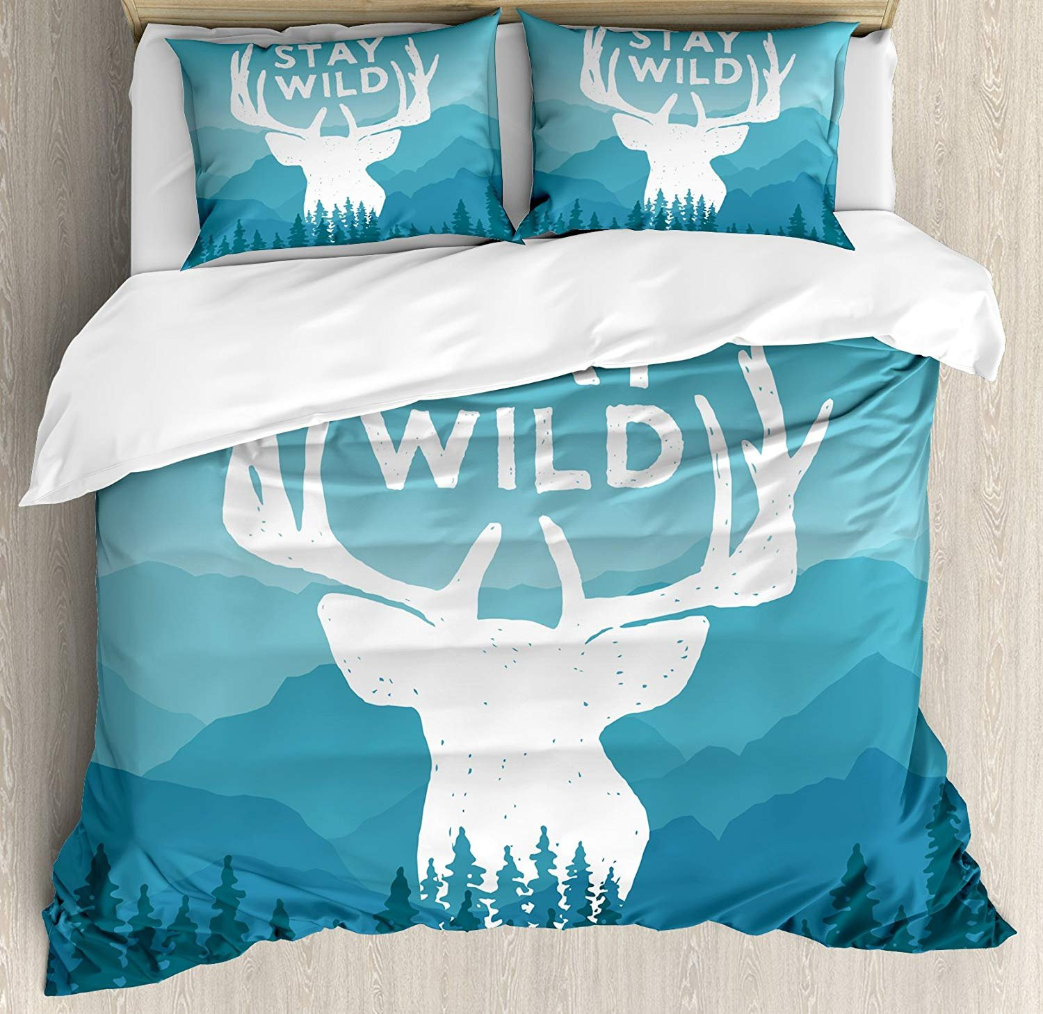WAZZIT 4 Piece Duvet Cover Set Twin Adventure Wilderness Themed Stay Wild Quote with Scenic Mountain Backdrop Forest Print Bedding Set with Zipper Closure Matching 2 Pillow Shams by WAZZIT
