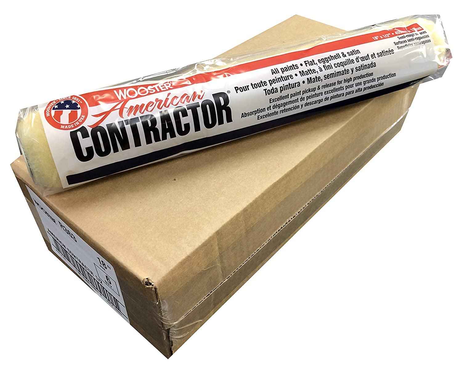 18-Inch Wooster Brush R363-18 American Contractor Roller Cover 1//2-Inch Nap