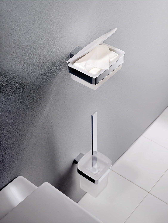 Emco Loft Toilettenbürsten Garnitur Glas satiniert chrom Toilettenbürste mit Bürstenhalter Wandmontage