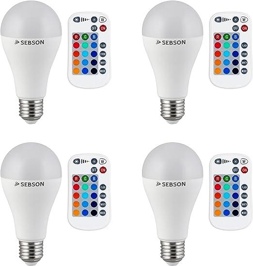 4er Pack dimmbar bunt 15 Farben warmwei/ß 2700K Fernbedienung SEBSON/® LED Lampen GU10 RGB Farbwechsel 4 Modi