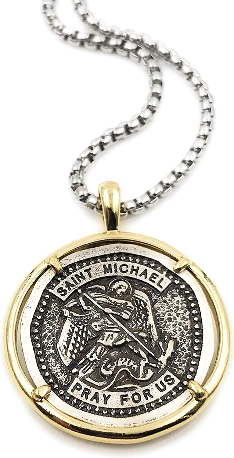 LESLIE BOULES Vintage Saint Michael The Archangel Medal Necklace for Men 22 Inches Length Protection Jewelry