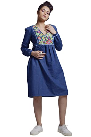 aca487e53cf Embroidered Knee Length Women's Dress in Dark Blue Denim with Long Sleeves  (XX-Large