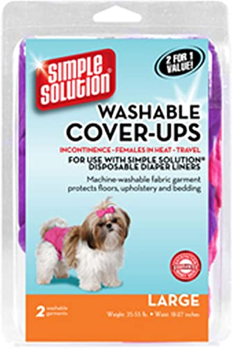 Simple Solution Washable Diaper Cover-Ups, Large, Colors May Vary , Pink Purple or Blue Black, 2 Pack