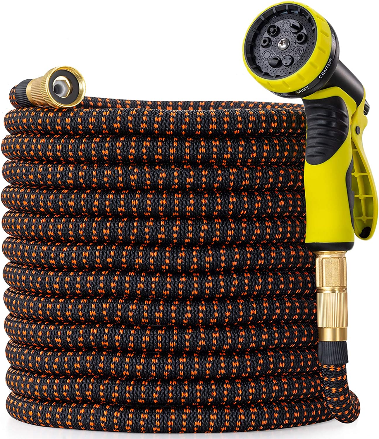 100 ft Garden Hose with 9 Function Nozzle, New Expandable Water Hose with Durable Retractable Latex and Fabric, Solid Brass Fittings, Kink Free Lightweight Flexible Hose Pipe for Gardening, Washing