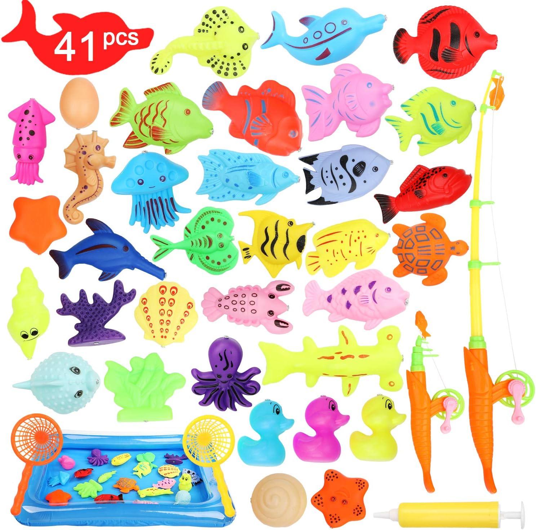 Ucradle Juguete de Pesca magnético, Juego de Juego Educativo de Juego de Pesca con imán Impermeable de 41 PCS Juego de Juego de Juguete de baño, Gran Regalo para niños pequeños con Peces