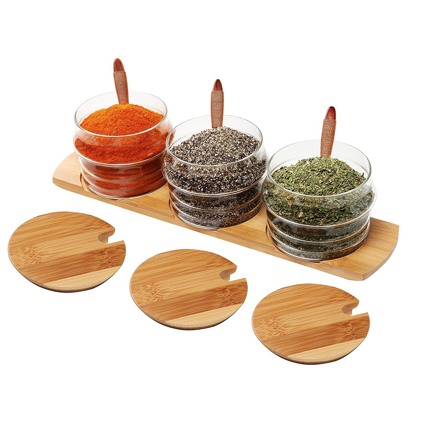 iRSE Glass Condiment Jars with bamboo tray and wood spoon for condiment pots, spice jars, sugar bowls, tea storage, nuts jar, holding dressings, dipping, salad bar serving, Set of 3