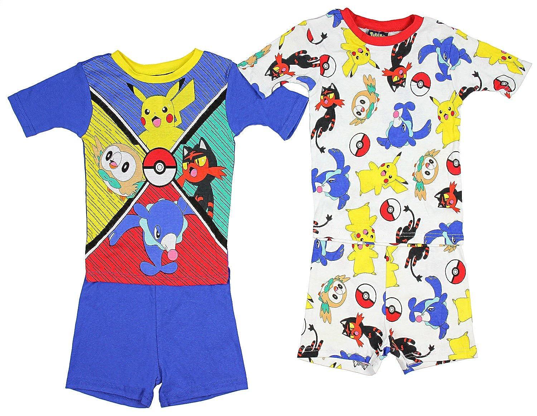 Pokémon Pokemon Little/Big Boys Charcter Print Four-Piece Snug Fit Pajama Short Set