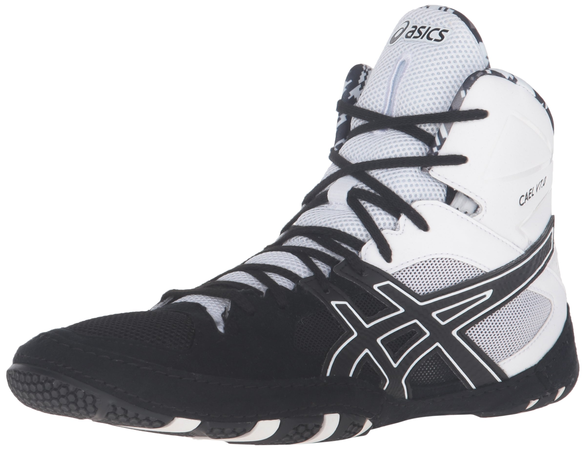 ASICS Men's Cael V7.0 Wrestling Shoe, Black/Onyx/White, 9.5 M US