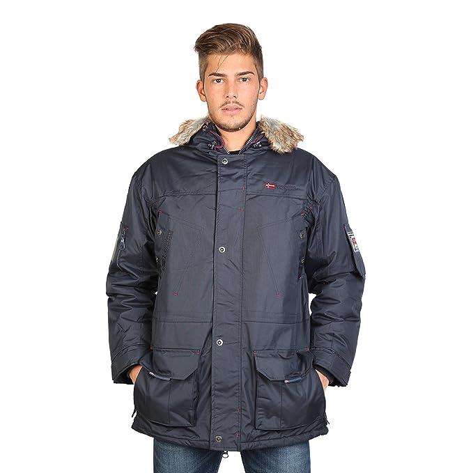 Geographical Norway - Abrigo con Capucha Pelo imitación Modelo Achem Hombre Caballero (Grande (L