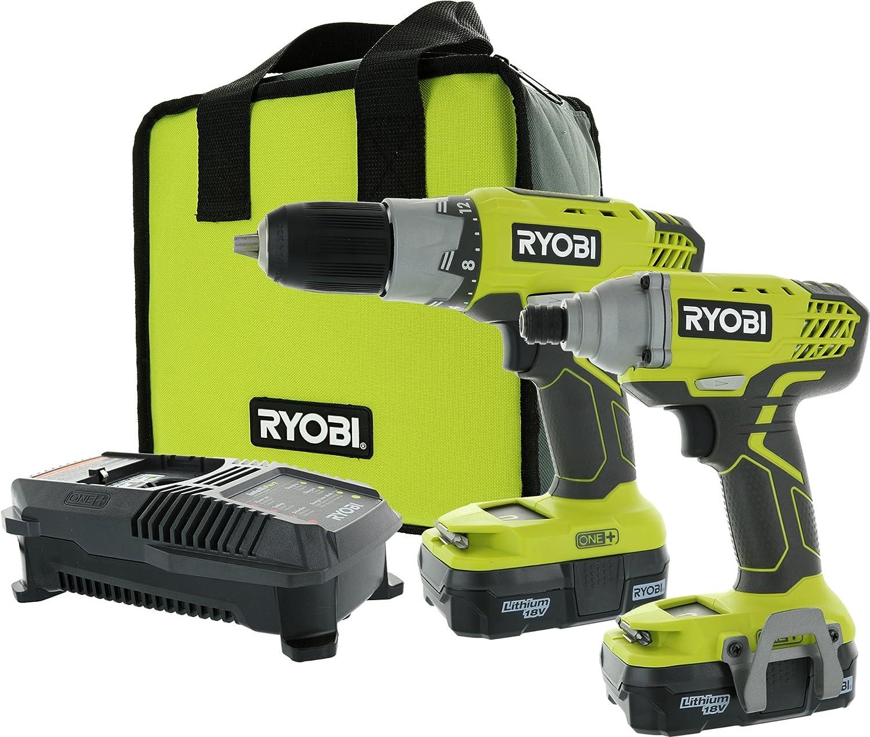 Ryobi P1832 18V One Handheld Drill Driver and Impact Driver Kit 6 Piece Bundle, 1x P277 Drill Driver, 1x P235 Impact Driver, 1x P118 Dual Chemistry Charger, 2x P102 18V Batteries, 1x Tool Bag