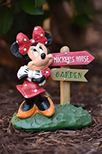 The Galway Company Presents Minnie Mouse Directional Sign, 6 Inches Tall x 7 Inches Long, Hand-Painted, Garden Statue
