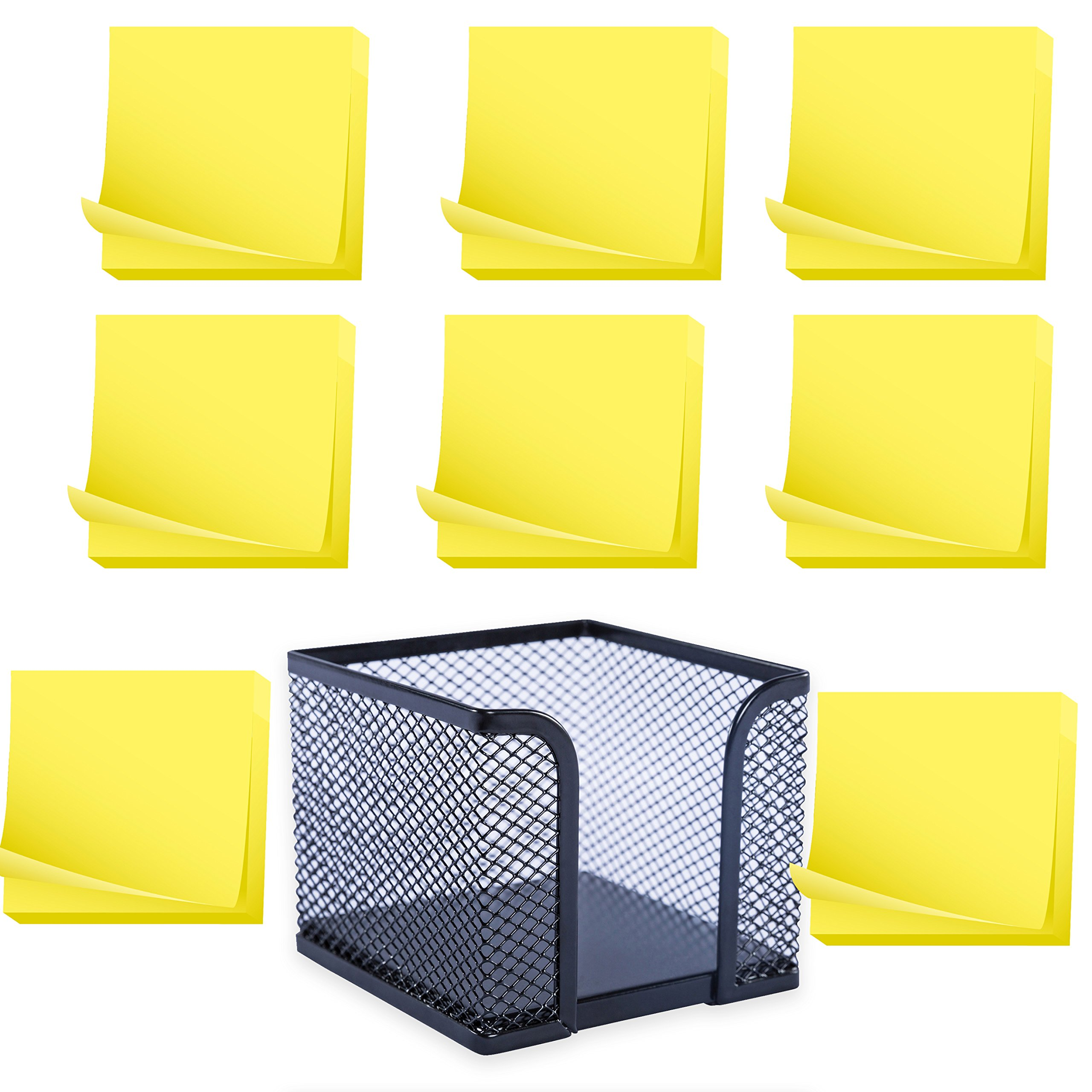 Memo Holder, Steel Mesh Sticky Notes Dispenser - with 12 Pads Adhesive Sticky Notes, Yellow - 3x3 inch - Total of 1200 Sheets - Value Set by Klingy