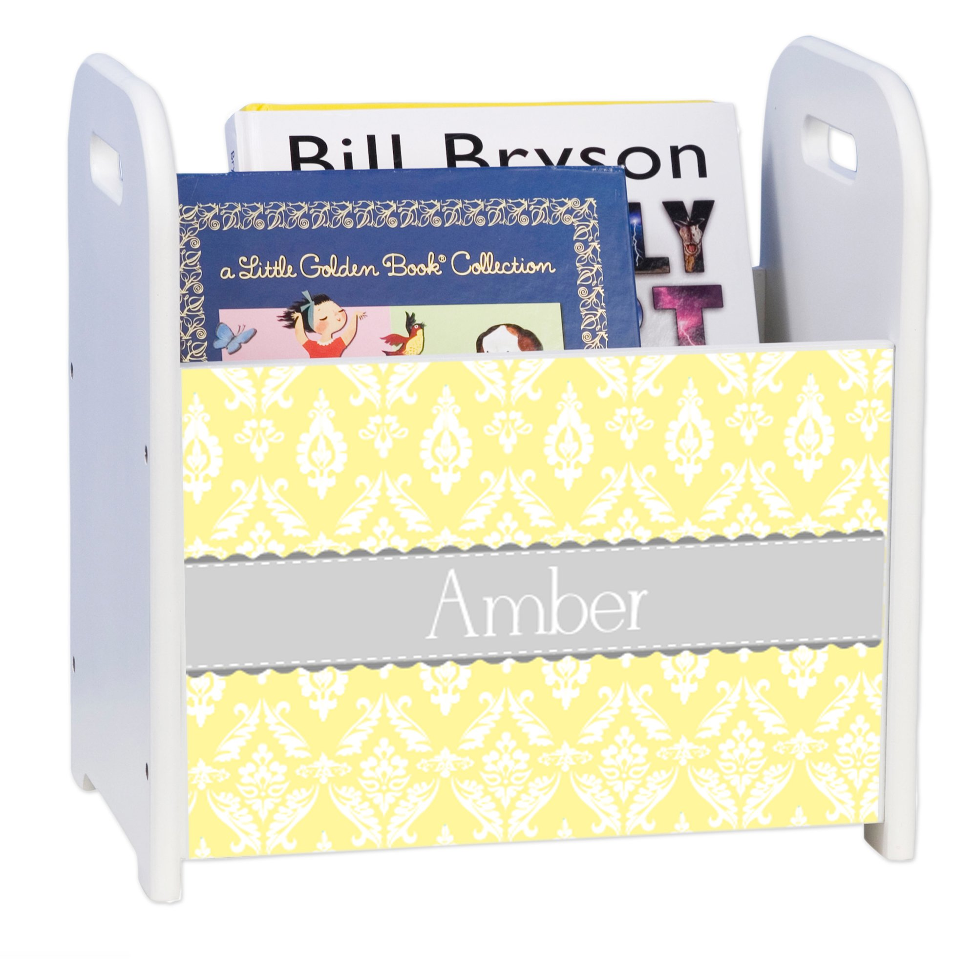 Personalized Damask Yellow with Gray White Book Caddy and Rack