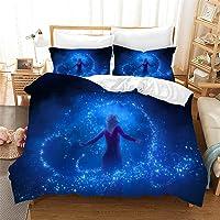 Bfrdollf Frozen Ropa de cama para niñas y fundas de almohada, impresión 3D, microfibra, juego de funda nórdica para…