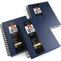 Arteza Schetsboek met spiraalbinding, verpakking van 3 stuks per 100 vellen, 14 x 21,6 cm, blauw schetsblok 100 g/m²…
