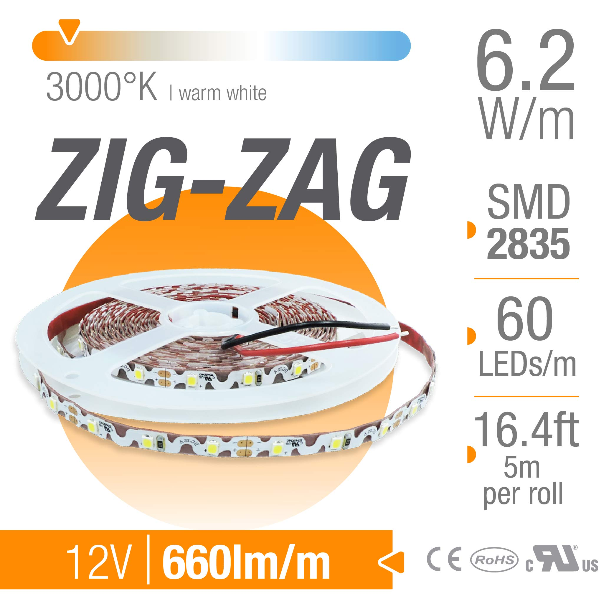DEMASLED - SMD 2835 Zig Zag LED Flexible Strip - Warm White (IP 33) 13,2W/m (Warm White) - 6A