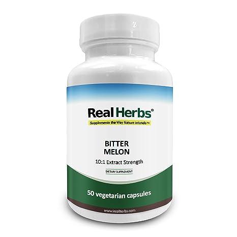 Real Herbs Extracto de melón amargo 7500mg Suplemento dietético – 50 cápsulas vegetarianas