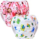 Teamoy 2pcs Baby Nappy riutilizzabile pannolino da nuoto, Monkeys Pink+ Sea World
