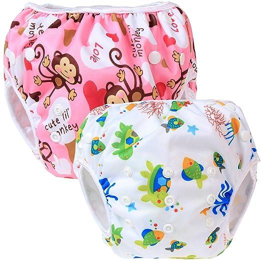 27 opinioni per Teamoy 2pcs Baby Nappy riutilizzabile pannolino da nuoto, Monkeys Pink+ Sea