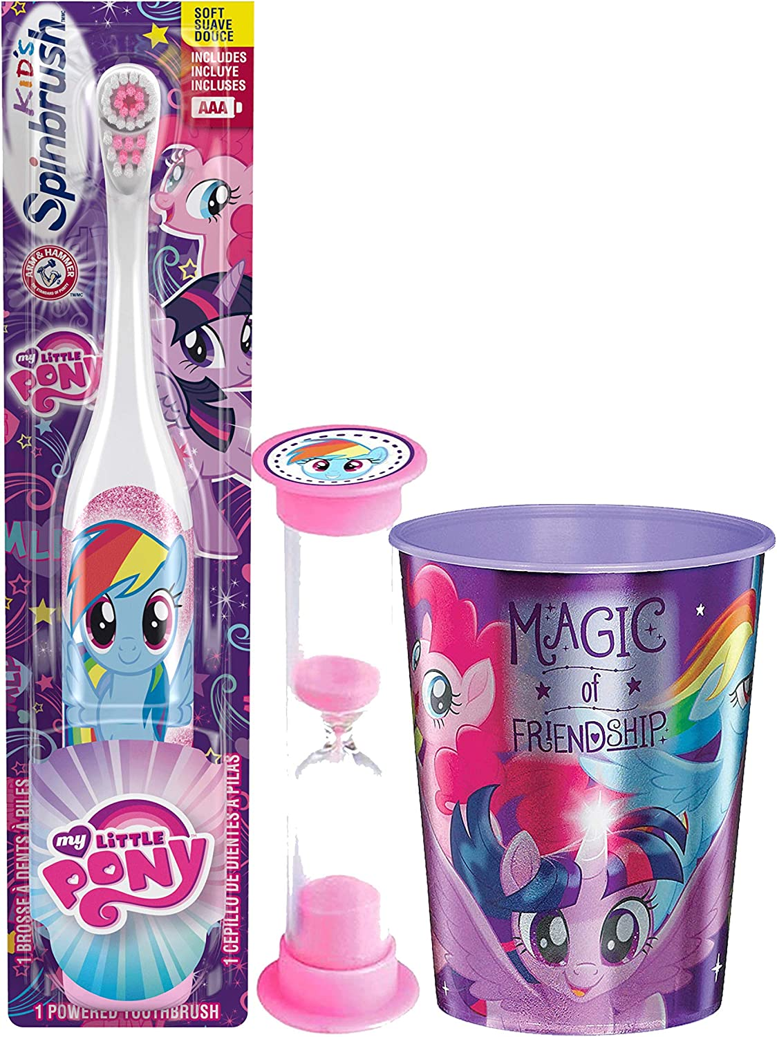 My Little Pony 3pc Bright Smile Oral Hygiene Bundle. Turbo Spin Toothbrush, Brushing Timer & Mouthwash Rinse Cup. Plus Dental Gift Bag & Tooth Saver Necklace (Rainbow Dash)