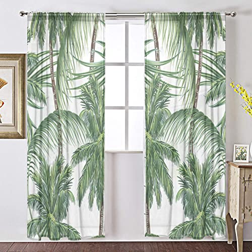 Elegant Voile Window Long Sheer Curtain 2 Panels Palm Trees Tropical Leaves Print Tulle Polyester