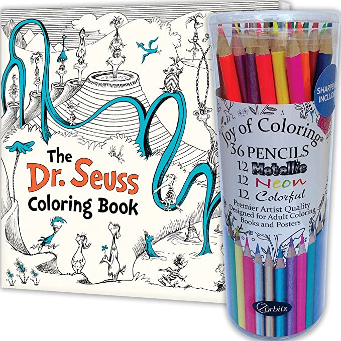amazon com set dr seuss coloring 80 page book and 36 specialty