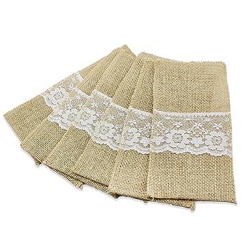 PsmGoods® Cubiertos de yute de la vendimia del cordón de la arpillera titulares Bolsas para banquete de boda Decoración de la mesa rústica de 6 paquetes: ...