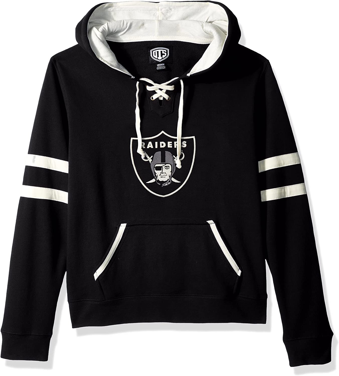 OTS NFL Oakland Raiders Womens Grant Lace Up Pullover Hoodie Logo Large