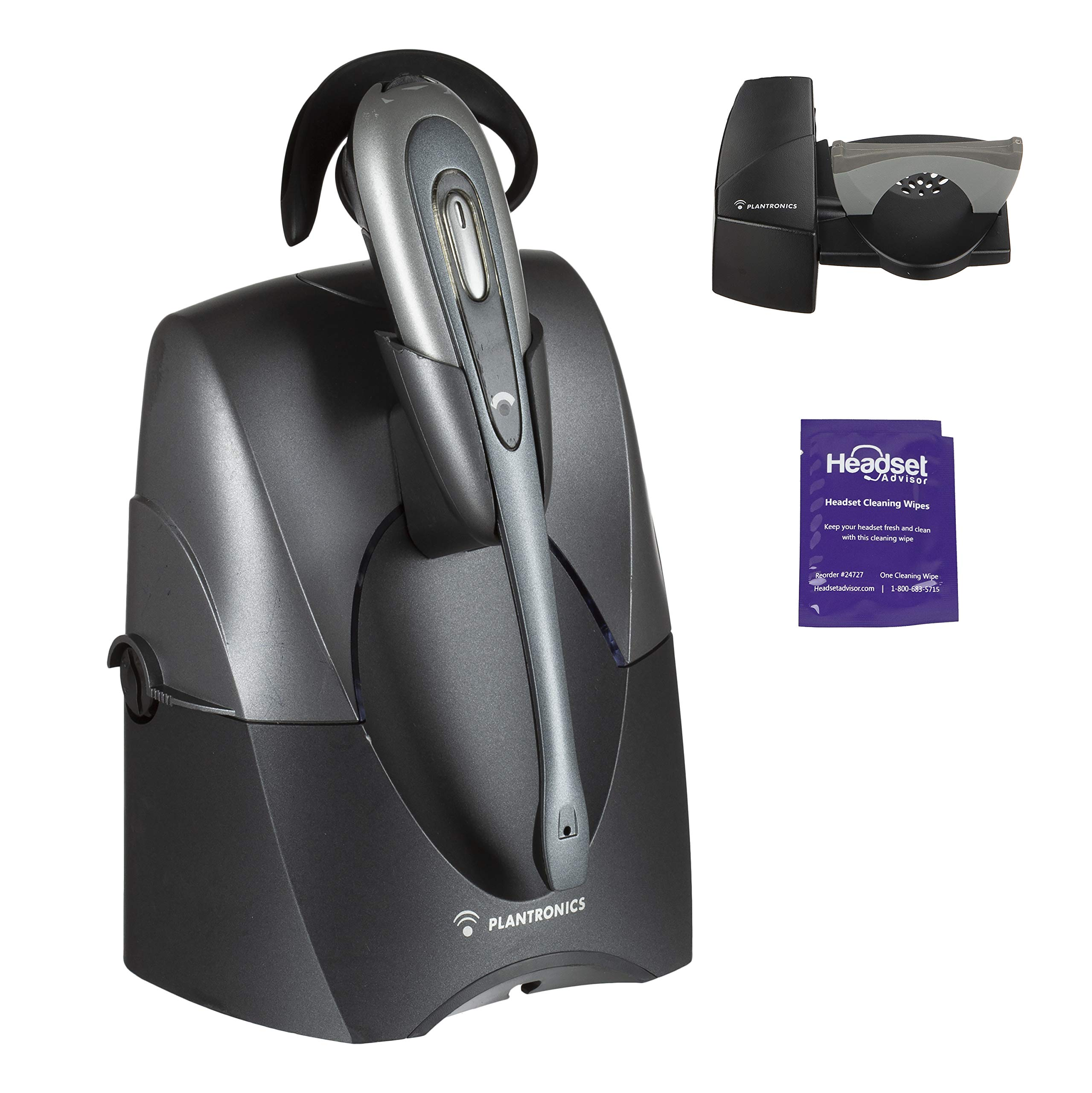 Plantronics CS55 Wireless Office Headset Included Bundle with Lifter and Headset Advisor Wipe (Renewed) by Plantronics