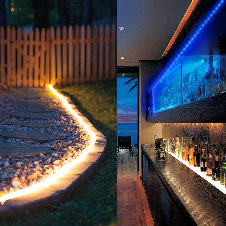 COSANSYS LED Streifen 10M RGB LED Strip 5050 300LEDs IP65 Wasserdicht flexibles Lichtleisten Farbwechsel LEDLichtband mit 44 Tasten IR Fernbedienung 12V 5A Netzteil (Aktualisierte Version)