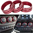 Danti 3pcs Audio Air Conditioning Button Cover Decoration Twist Switch Ring Trim for Jeep Wrangler JK JKU Patriot Liberty 2011-2018 Dodge Challenger 2008-2014 (Red)