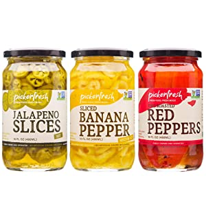 Pickerfresh Pepper Bundle | Jalapeno Slices (16 Fl Oz), Fire-Roasted Red Peppers (16 Fl Oz) & Sliced Banana Peppers (16 Fl Oz) | Non-GMO & Gluten Free | Pickled Vegetables & Condiments