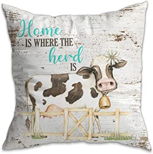 I Will Love You Till The Cows Come Home Art Print Watercolor Design Wall Decor Set (Herd Pillow Cover)