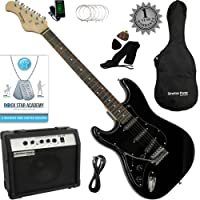 Stretton Payne LEFT HAND Electric Guitar with practice amplifier, padded bag, strap, lead, plectrum, tuner, spare strings. Guitar in Black