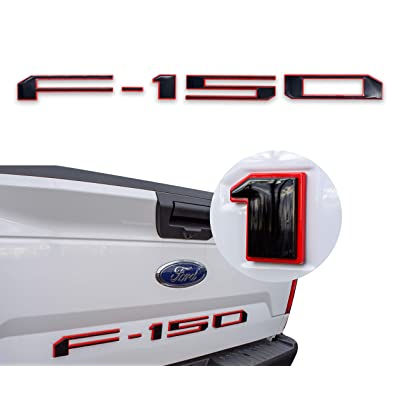 AUTO PRO ACCESSORIES Tailgate Insert Letters for 2020-2020 Ford F150 (Black W. Red Outline): Automotive [5Bkhe2002501]