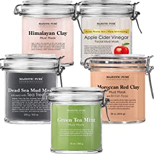 Majestic Pure Himalayan Clay Mask, Apple Cider Vinegar Mask, Green Tea Mask, Dead Sea Mud Mask with Tea Tree Essential Oil, and Moroccan Red Clay Mask Bundle
