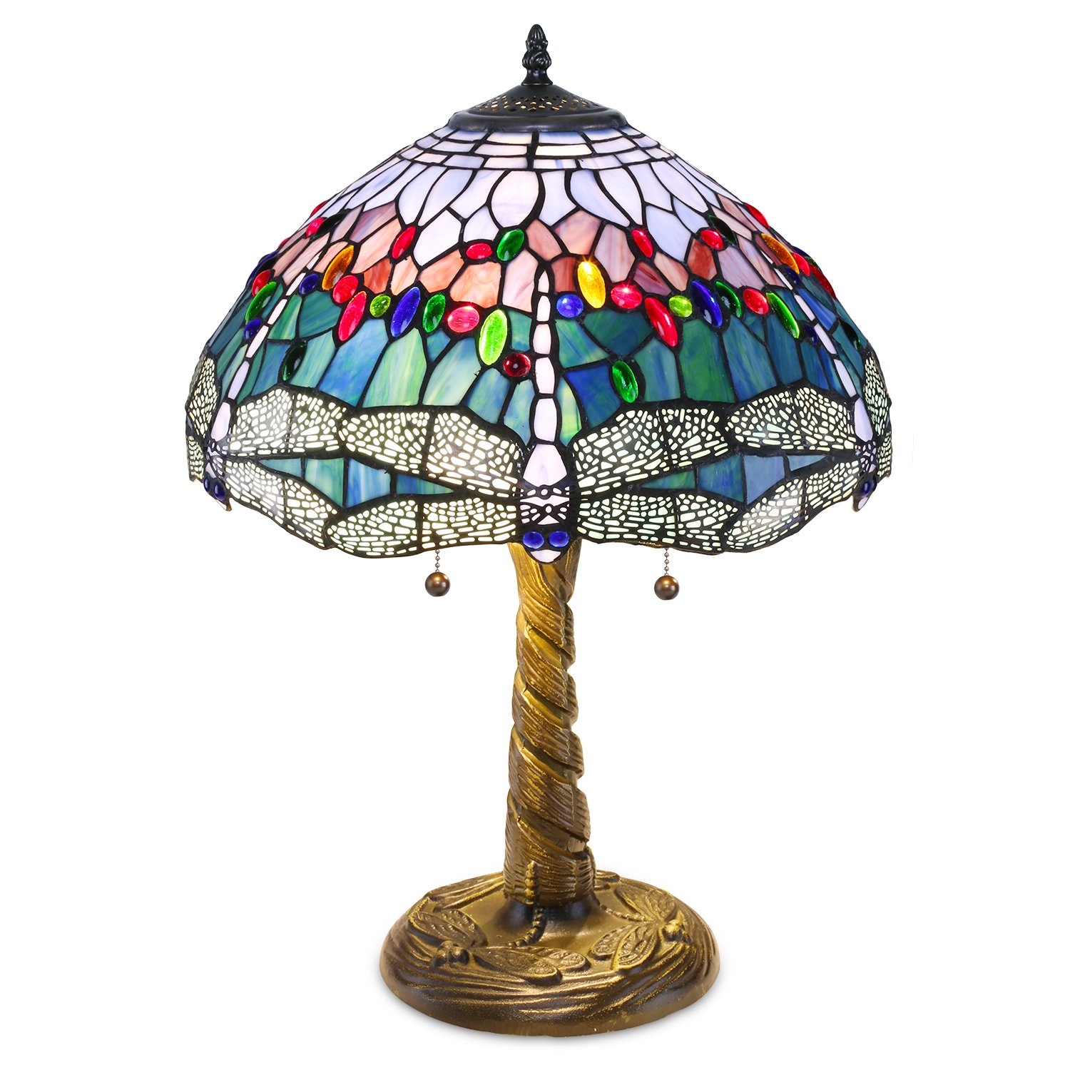 Warehouse of Tiffany WHT008 Tiffany-style Dragonfly Lamp, Blue/Red by Warehouse of Tiffany