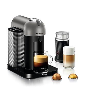 Nespresso Vertuo Coffee and Espresso Machine Bundle with Aeroccino Milk Frother by Breville, Titan