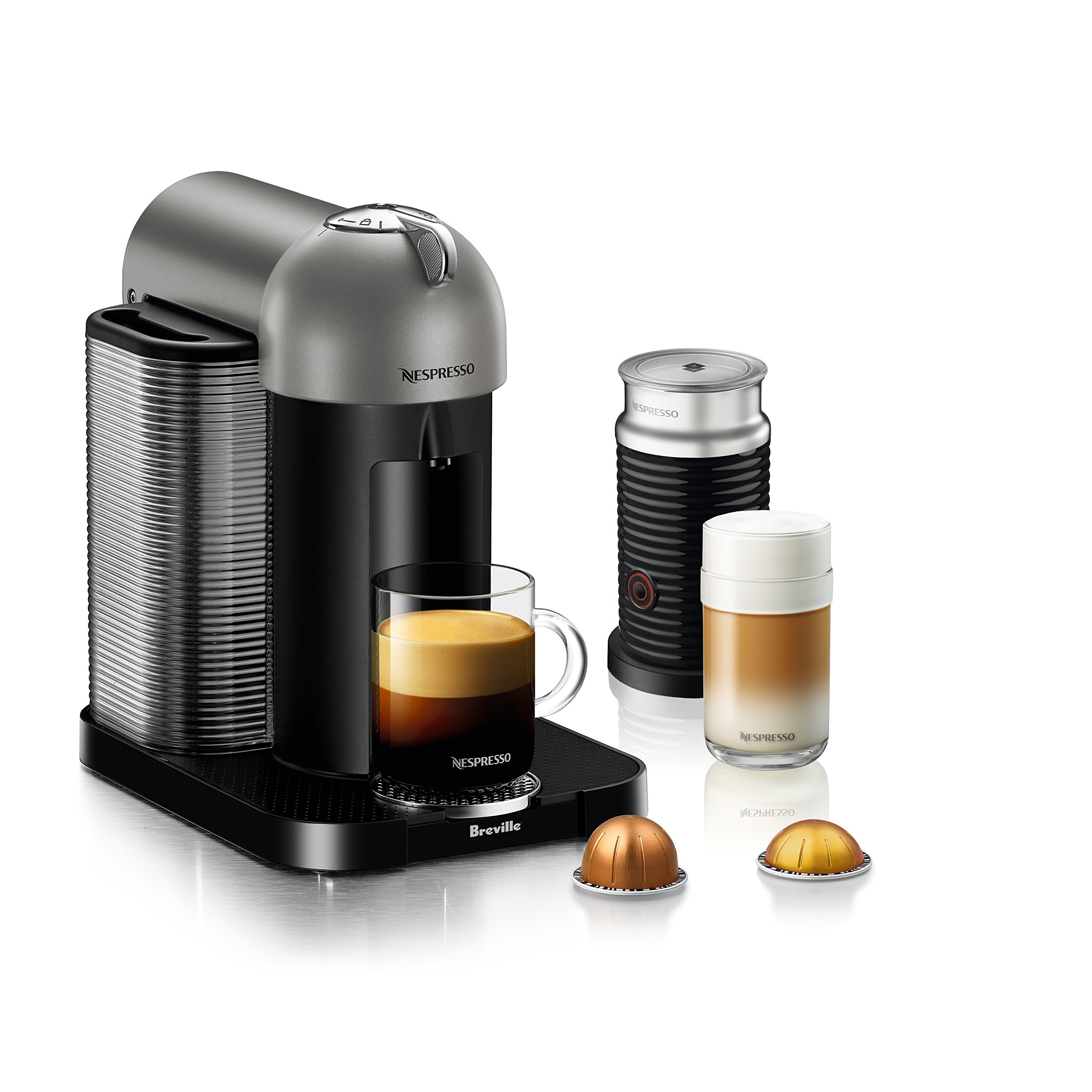 Nespresso Vertuo Coffee and Espresso Machine by Breville with Aeroccino, Titan by Breville