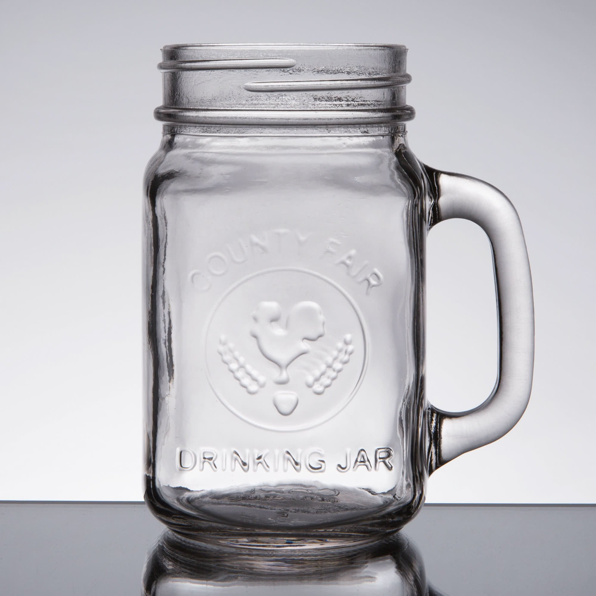 Core 16 oz. County Fair Mason Jar/Drinking Jar with Handle - 12/Case