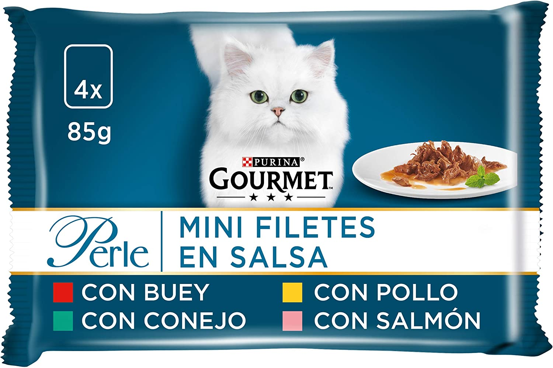Purina Gourmet Perle Finas Láminas en Salsa comida para gato en Variedades de Buey, Pollo, Conejo y Salmón 12 x [4 x 85 g]