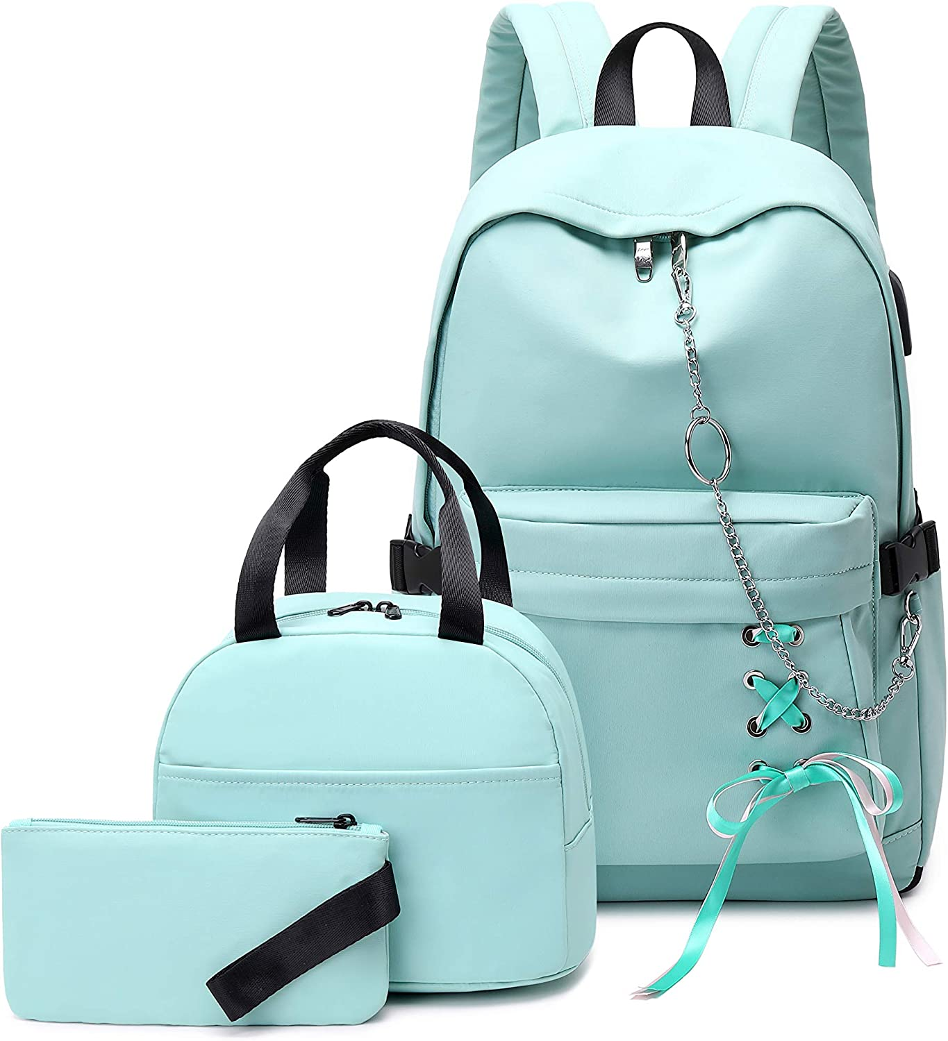 Joymoze Girl Laptop Backpack Set with Lunch Bag and Pencil Purse Light Blue Chain