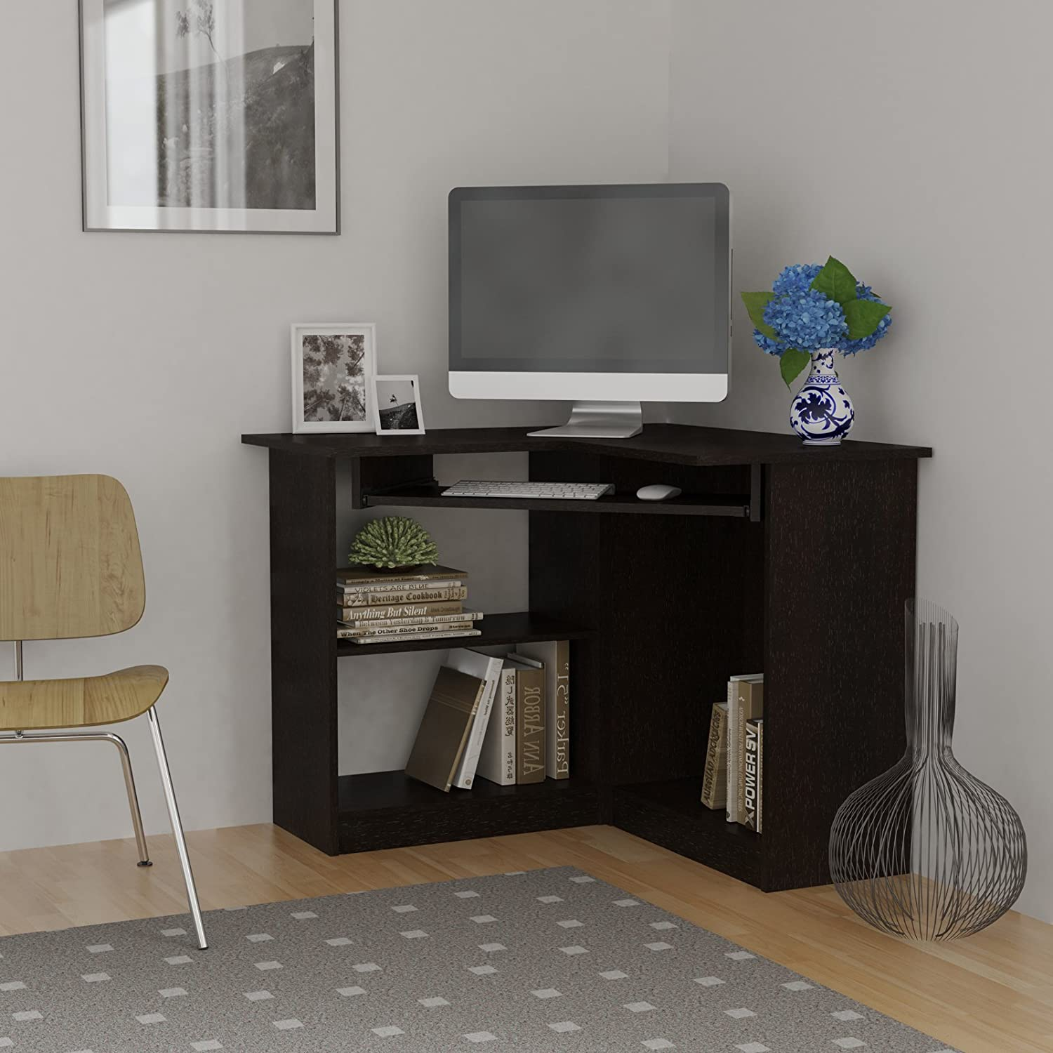 amazon com essential home corner computer desk espresso office