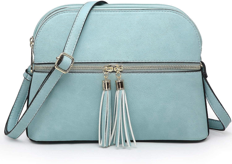 Amazon.com: Lightweight Women Crossbody Bags,Travel Shoulder Messenger Purse  Medium Size Clutch Multi Zipper Designer Satchel for All Seasons (0-Light  Blue): Shoes