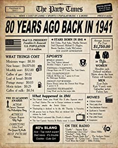 80th Birthday Decorations for Women or Men, Classy Vintage Table Decor, Birthday Card Poster for Him or Her Turning 80 Years Old, Back in 1941 Print (8 x 10, UNFRAMED)
